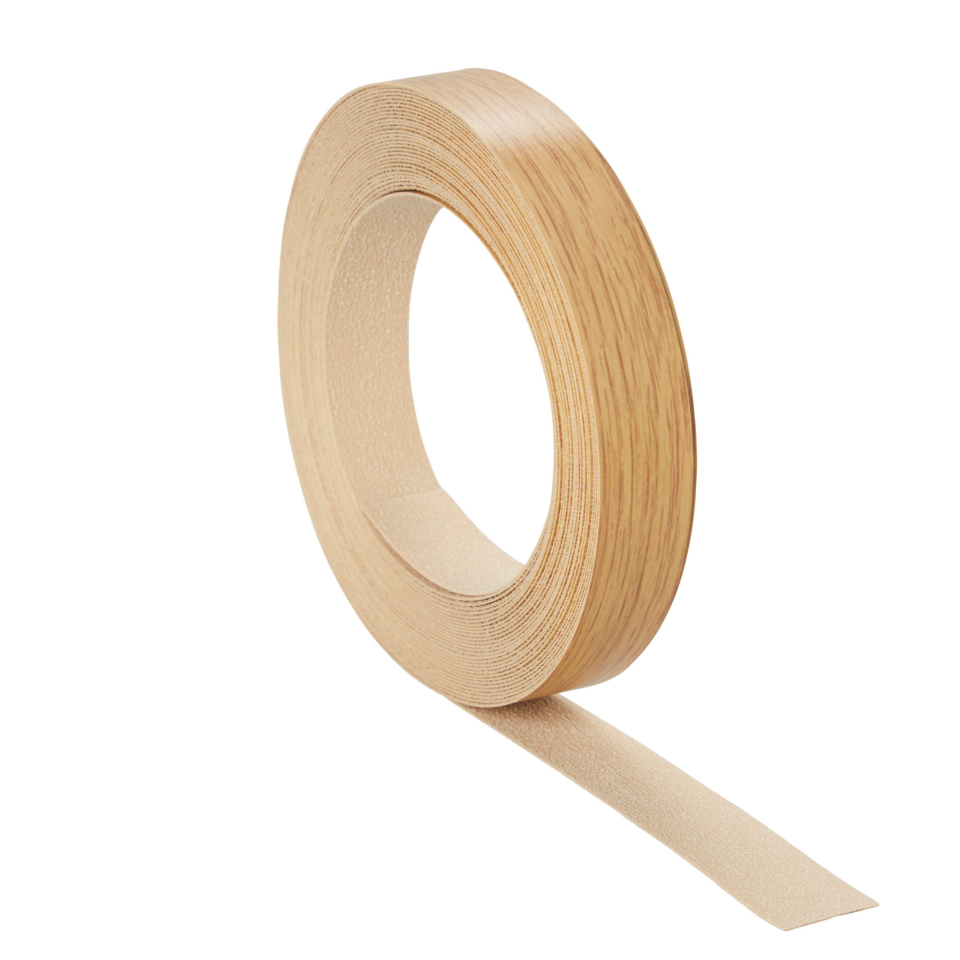 cooke lewis matt oak oak effect iron on edging tape l. Black Bedroom Furniture Sets. Home Design Ideas