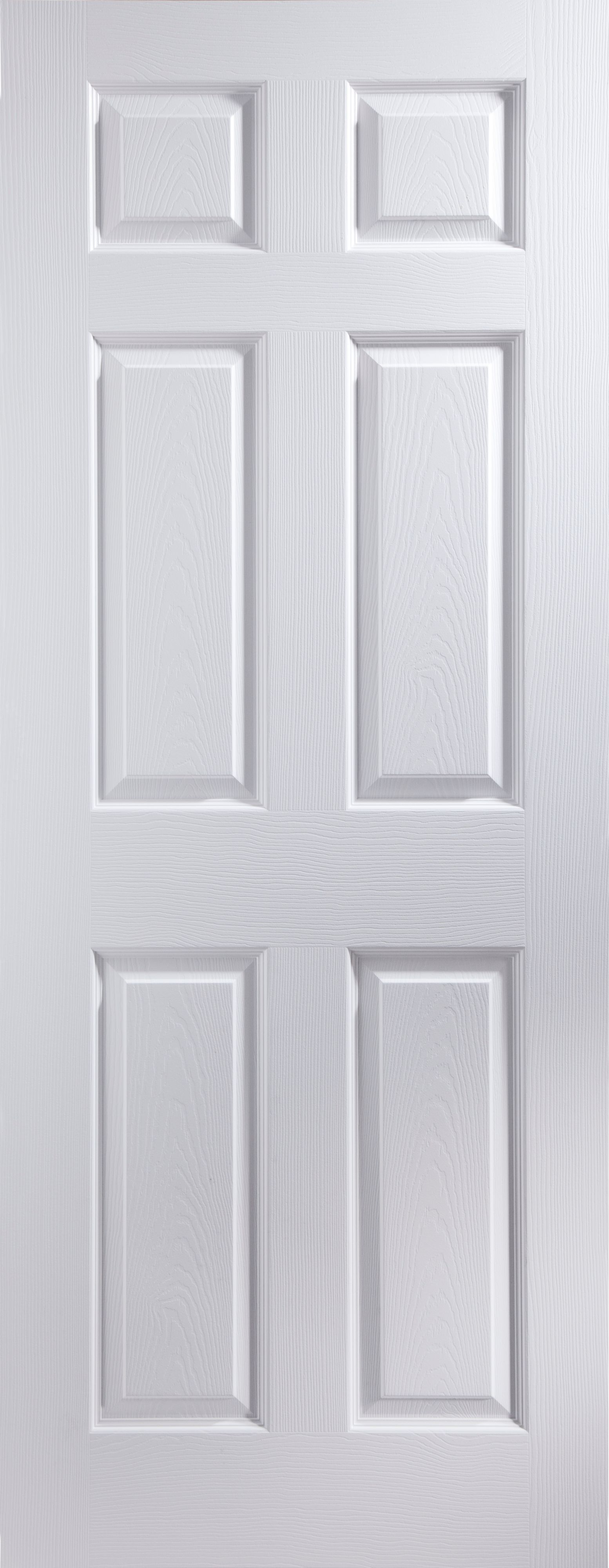 6 Panel Primed Woodgrain Effect Unglazed Internal Standard Door (H)1981mm (W)762mm | Departments | DIY at B\u0026Q
