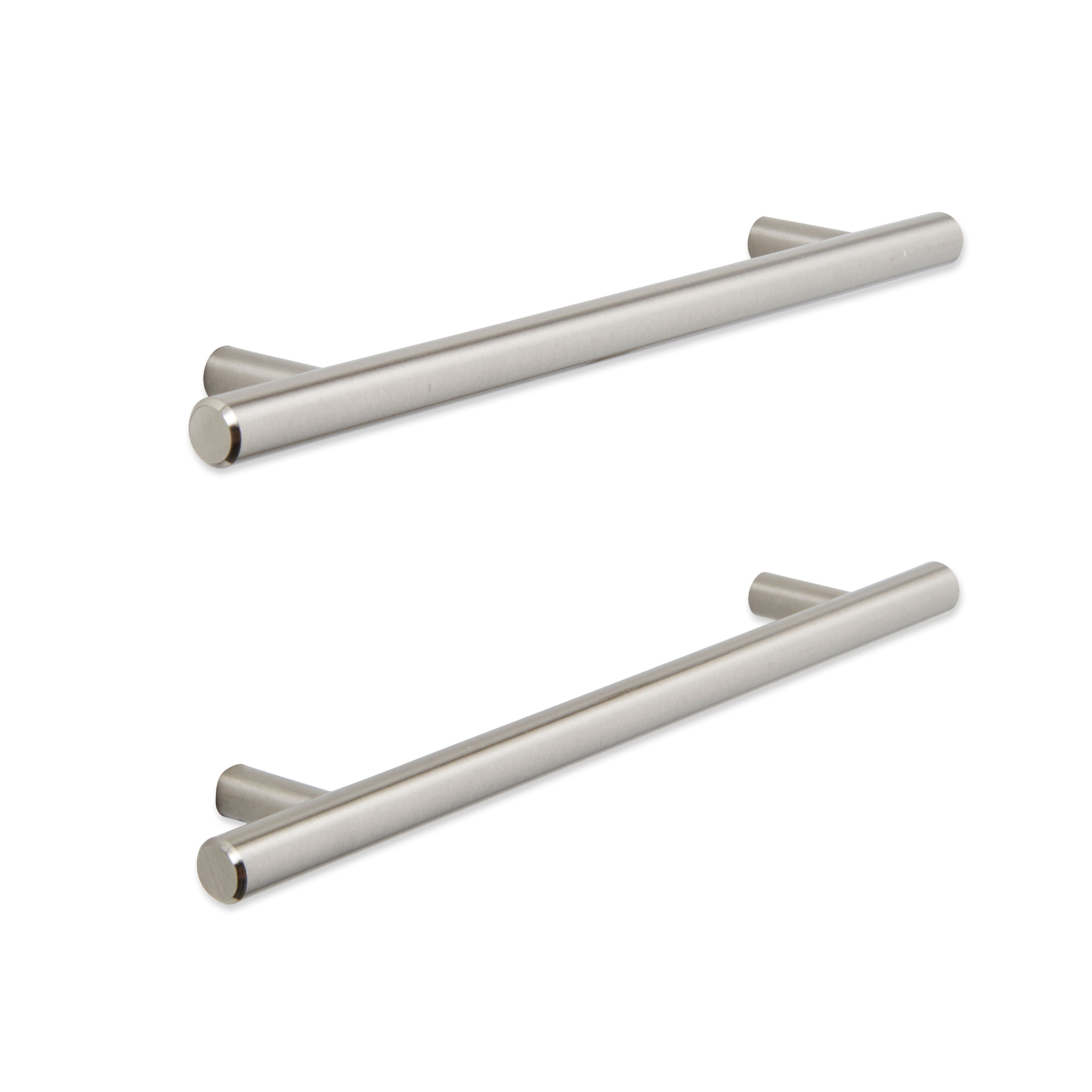 In the kitchen antique wrenches are used as cabinet door handles and - B Q Brushed Nickel Effect Straight Furniture Handle Pack Of 2 Departments Diy At B Q