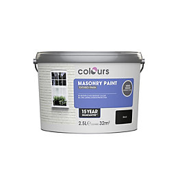 Colours Black Matt Masonry Paint 2.5L