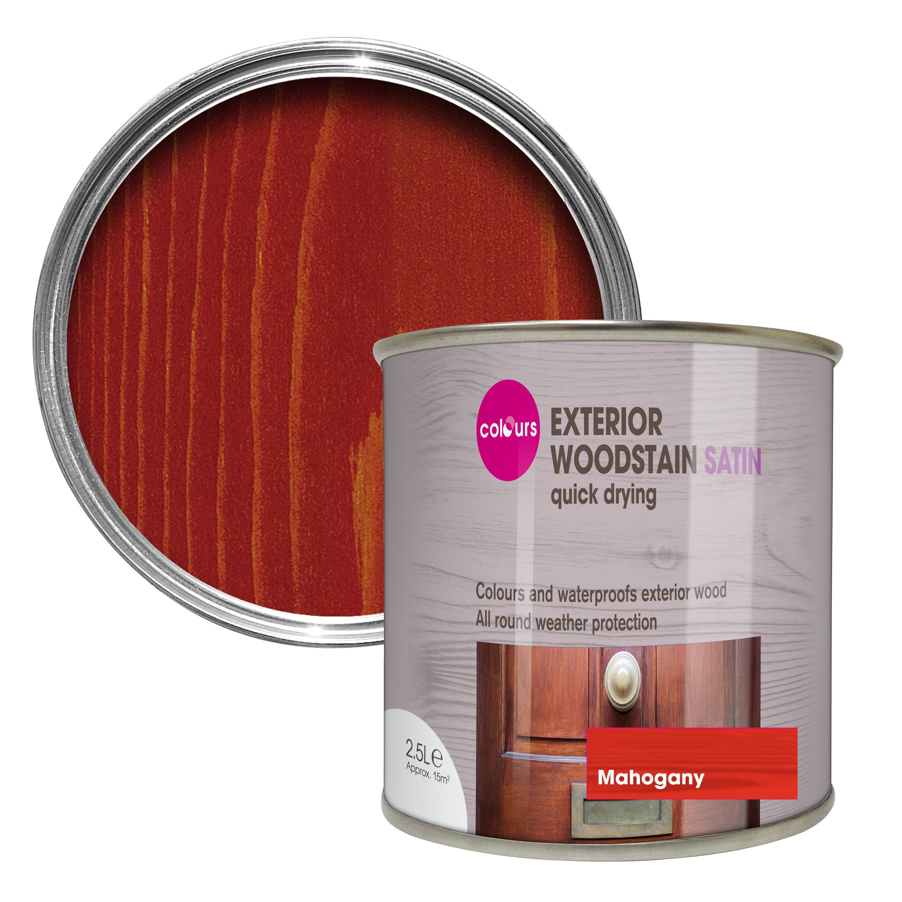 Colours mahogany satin woodstain 2 5l departments diy at b q - Exterior satin wood paint property ...