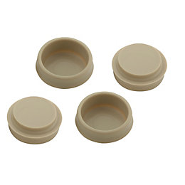 B&Q Cream Plastic Castor Cup (Dia)41mm, Pack of