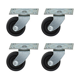B&Q Plate Fitting Rigid Castor, Pack of 4