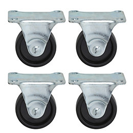 B&Q Fixed Fitting Rigid Castor, Pack of 4