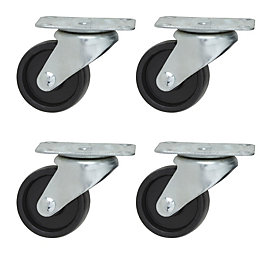 B&Q Plate Fitting Swivel Castor, Pack of 4