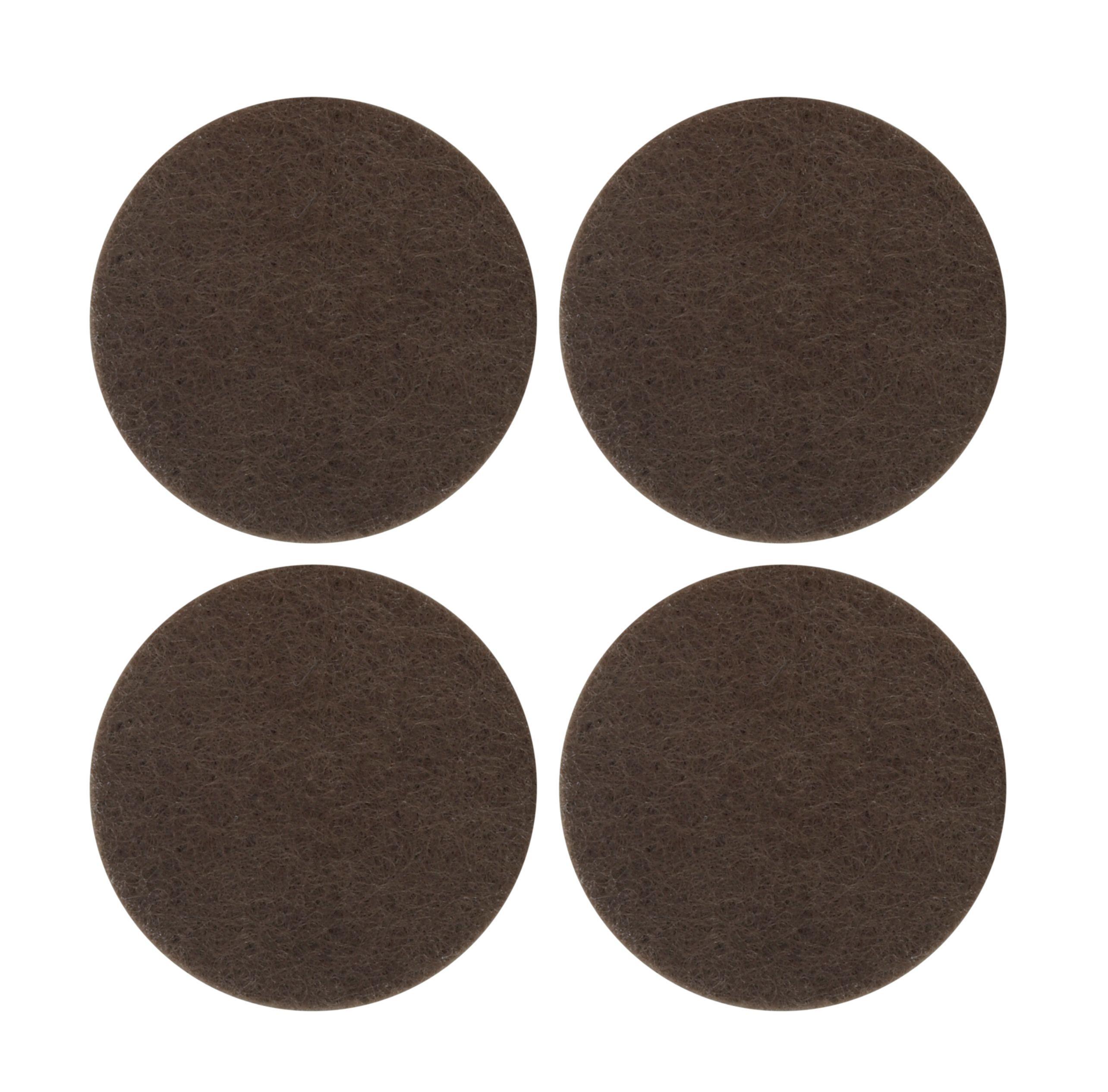 B&Q Brown Felt Self Adhesive Pad Protector Dia 34mm Pack of 4