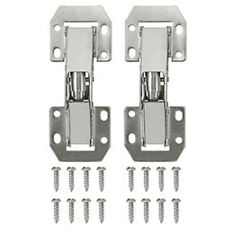Nickel Effect Metal Lay On Sprung Hinge, Pack