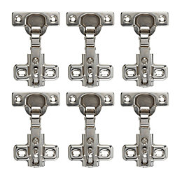 Nickel Effect Metal Concealed Hinge, Pack of 6