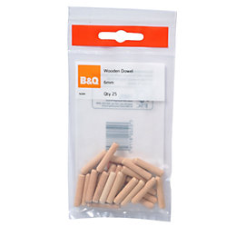 B&Q Wood Dowel, Pack of 25 (L)30mm