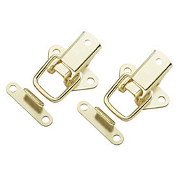 B&Q Brass Effect Toggle & Plate Catch, Pack