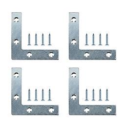 B&Q Zinc Effect Steel Corner Plate (W)75mm (L)75mm,