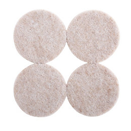 B&Q Cream Felt Self Adhesive Pad Protector (Dia)38mm,