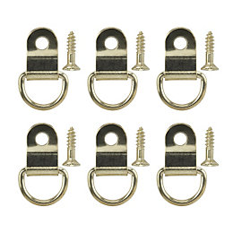 B&Q Brass Effect Picture Hook Pack of 6