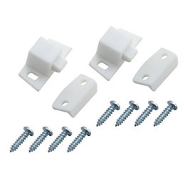 B&Q White Cupboard Catch, Pack of 2