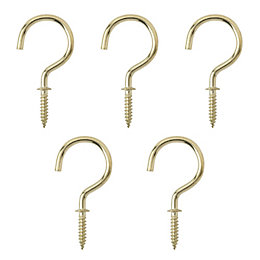 B&Q Brass Effect Metal Cup Hook, Pack of