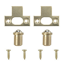 B&Q Brass Effect Ball Catch, Pack of 2