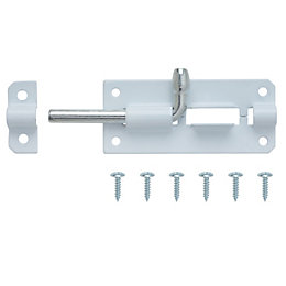 B&Q White Steel Barrel Bolt (L)75mm