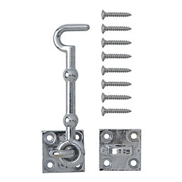 B&Q Chrome Effect Zamac Cabin Hook
