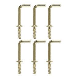 B&Q Brass Effect Metal Cup Hook, Pack of