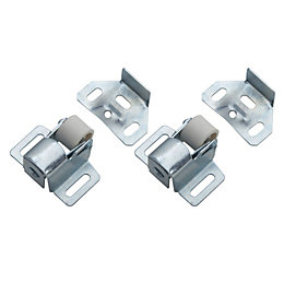 B&Q Zinc Effect Roller Catch, Pack of 2