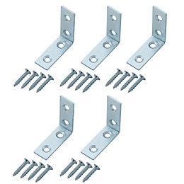 B&Q Zinc Effect Mild Steel Corner Brace Bracket