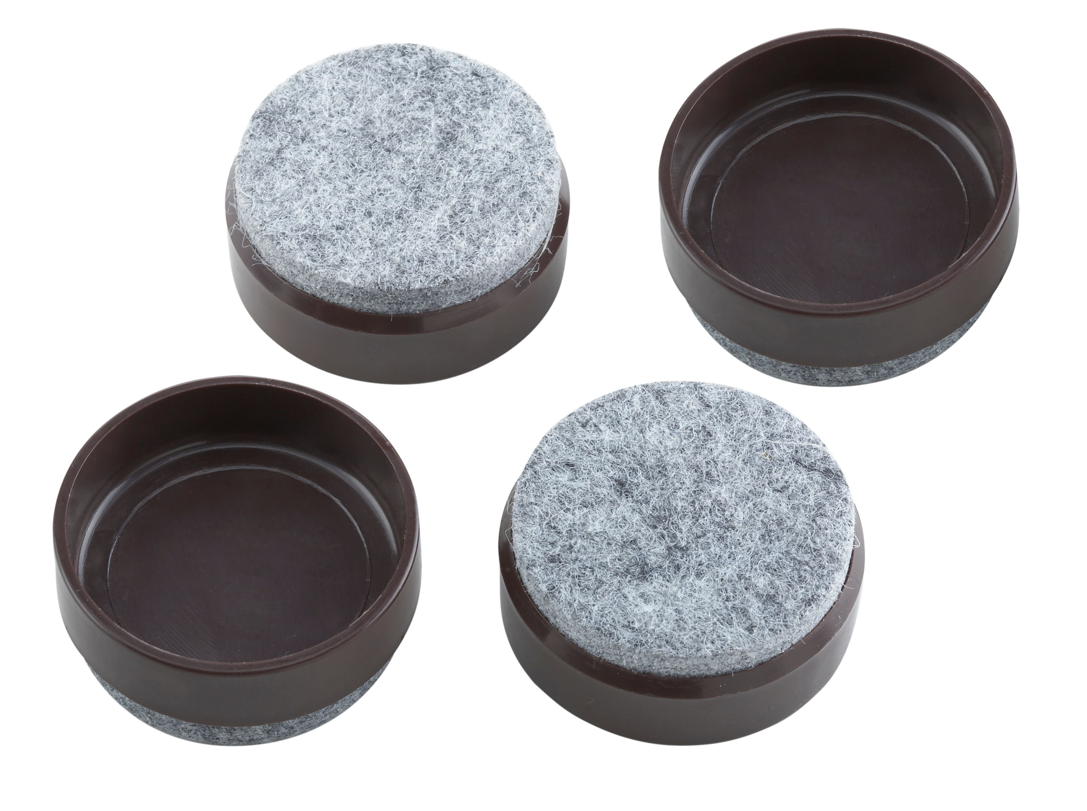 B&Q Brown Felt & Plastic Castor Cup Dia 45mm Pack of 4