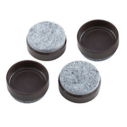 B&Q Brown Felt & Plastic Castor Cup (Dia)45mm,