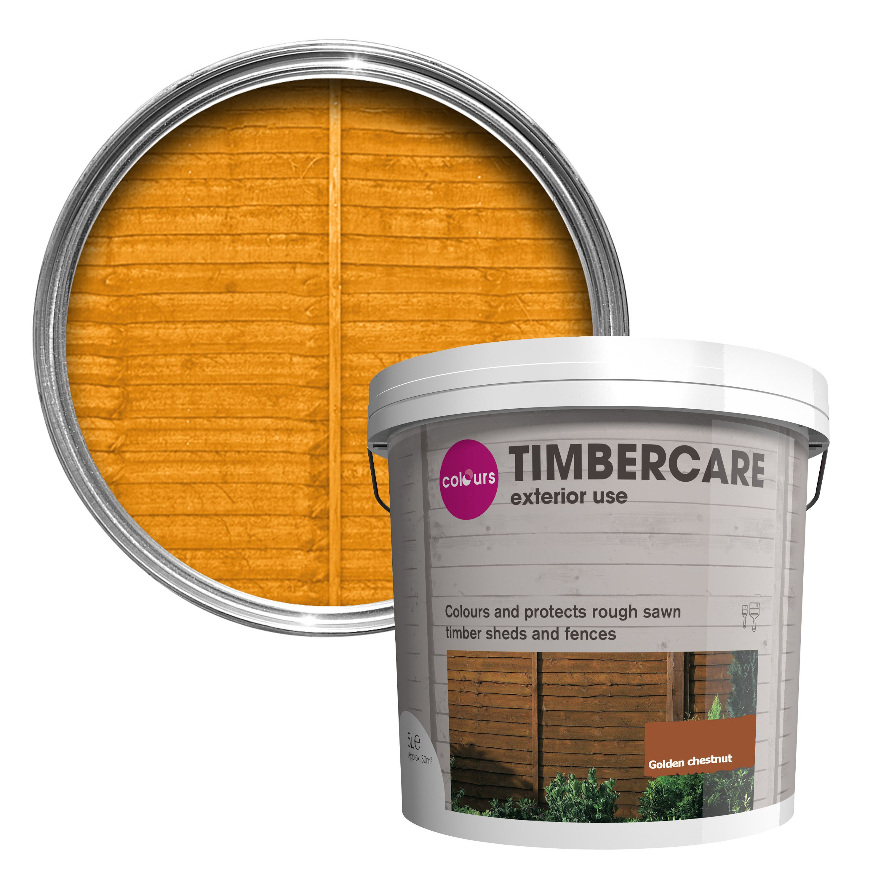Colours timbercare golden chestnut shed fence stain 5l - Chestnut brown exterior gloss paint ...