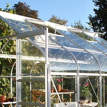 Toughened safety glass glazed greenhouse
