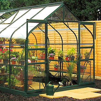 B&Q 8X12 Toughened Safety Glass Greenhouse with sliding door