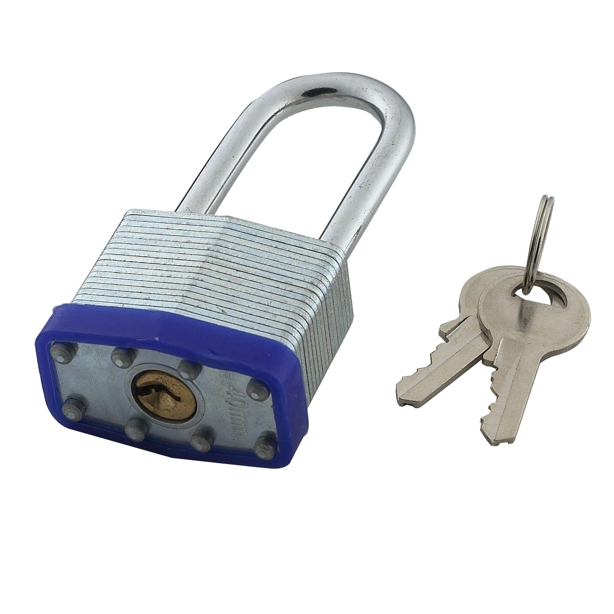 Steel 4-pin Tumbler Open Shackle Padlock (w)40mm