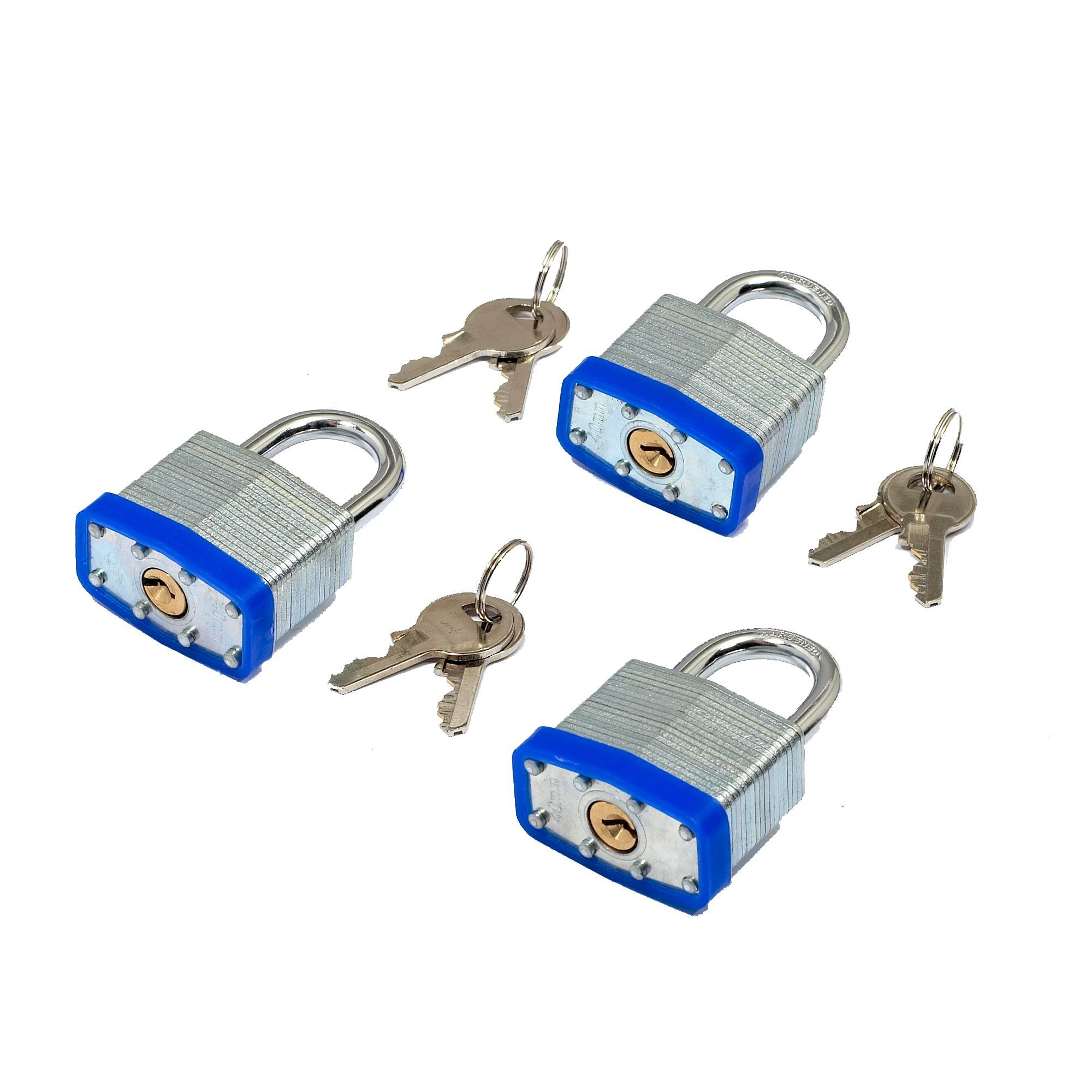 Steel 4-pin Tumbler Open Shackle Padlock (w)40mm, Pack Of 3