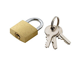 B&Q Brass & Steel 3-Pin Tumbler Padlock (W)20mm