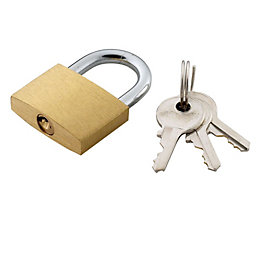 B&Q Brass & Steel 4-Pin Tumbler Padlock (W)30mm