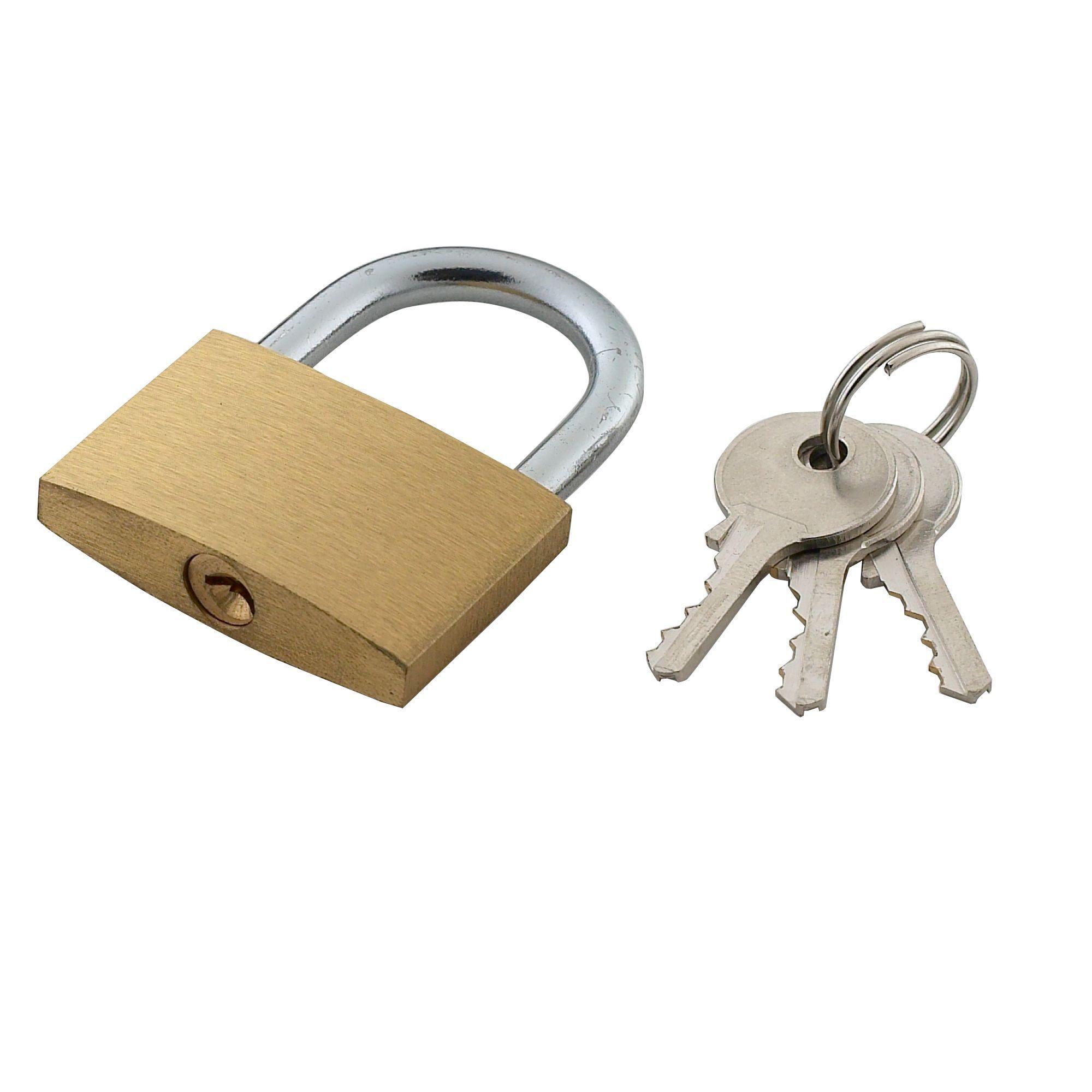 Brass & Steel Pin Tumbler Open Shackle Padlock (w)40mm