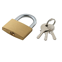 B&Q Brass & Steel Pin Tumbler Padlock (W)40mm