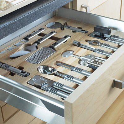 Kitchen Design Tool B Q: Premium Kitchens Beech Effect Wood Kitchen Utensil Tray