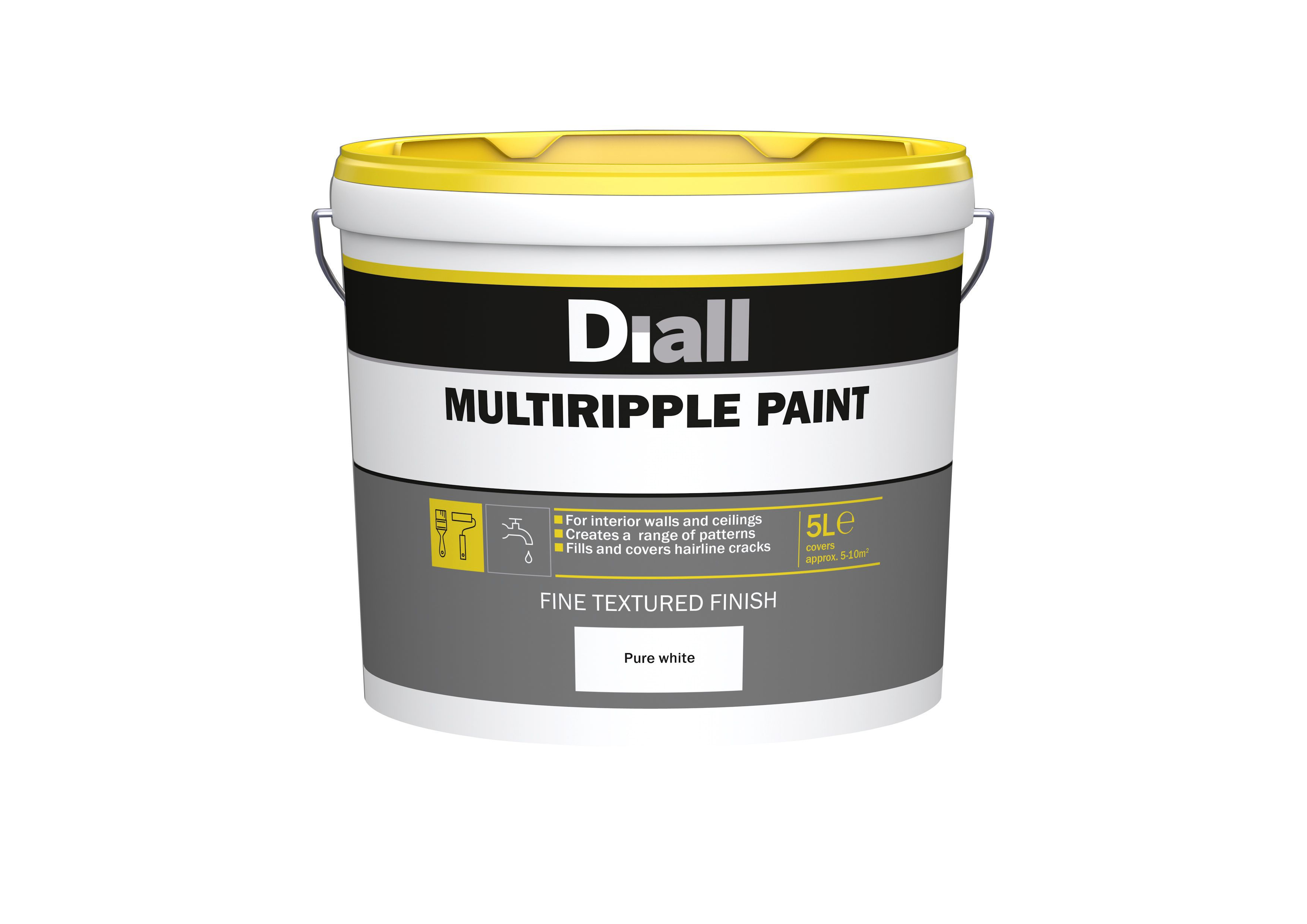 B&q Multi Ripple Pure White Textured Special Effect Paint 5l