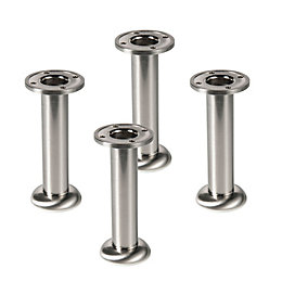 IT Kitchens (H)150mm Brushed Nickel Legs, Pack of