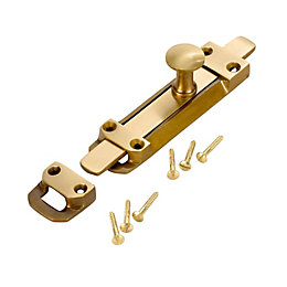 B&Q Antique Effect Brass Slide Bolt (L)152mm
