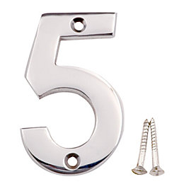 Chrome Effect Brass House Number 5