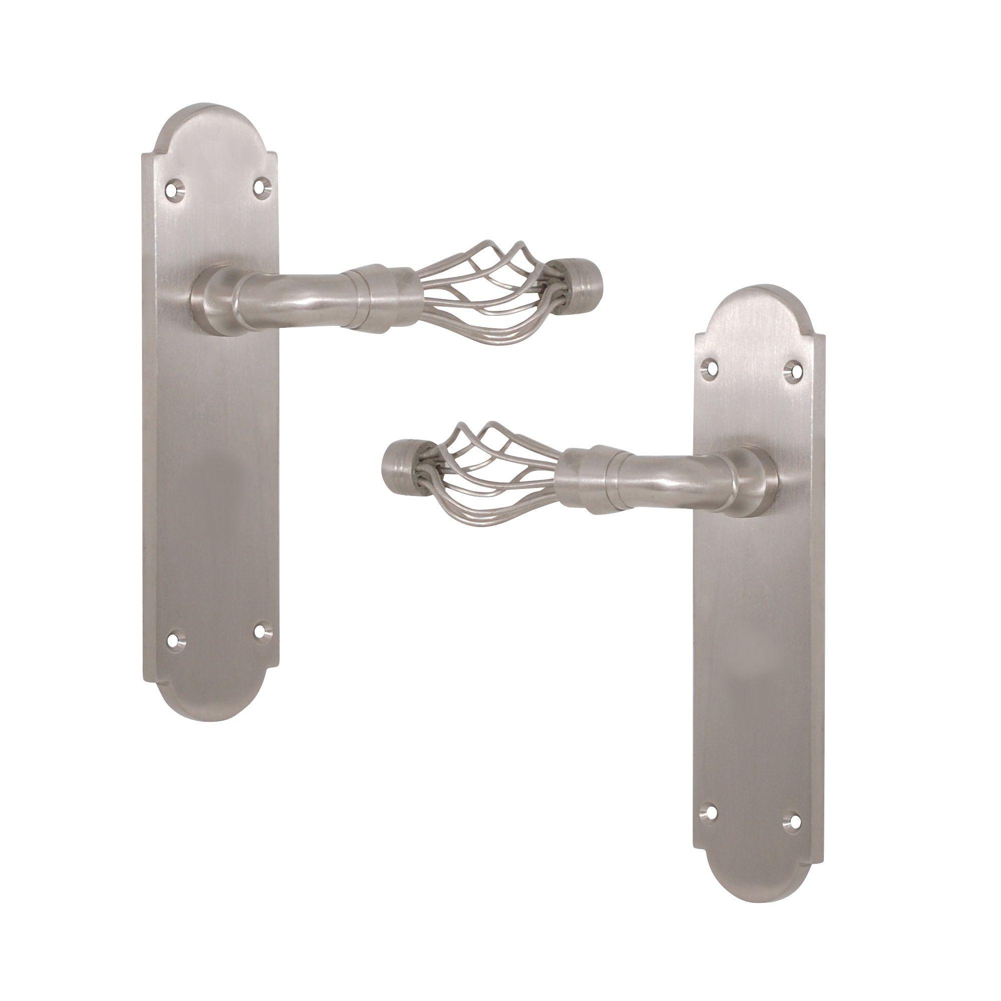 Satin Nickel Effect Internal Straight Latch Door Handle, 1 Set