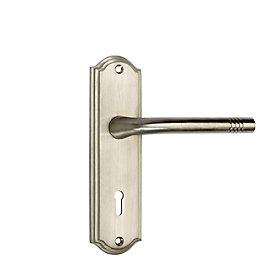 B&Q Satin Nickel Effect Straight Lock Door Handle,