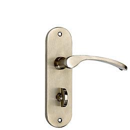 B&Q Mpp Satin Scroll Bathroom Door Handle, Set