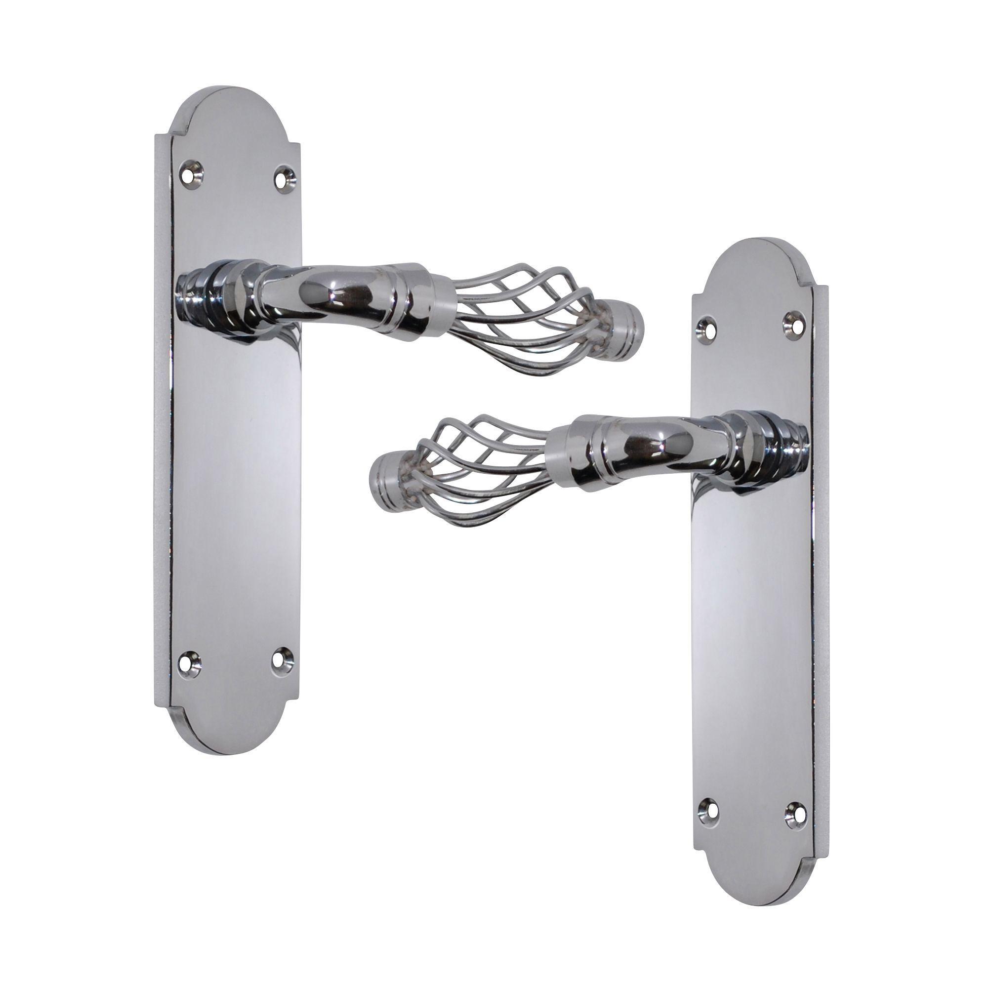Polished Chrome Effect Internal Straight Latch Door Handle, 1 Set