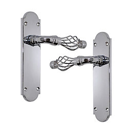 Polished Chrome Effect Internal Straight Latch Door Handle,