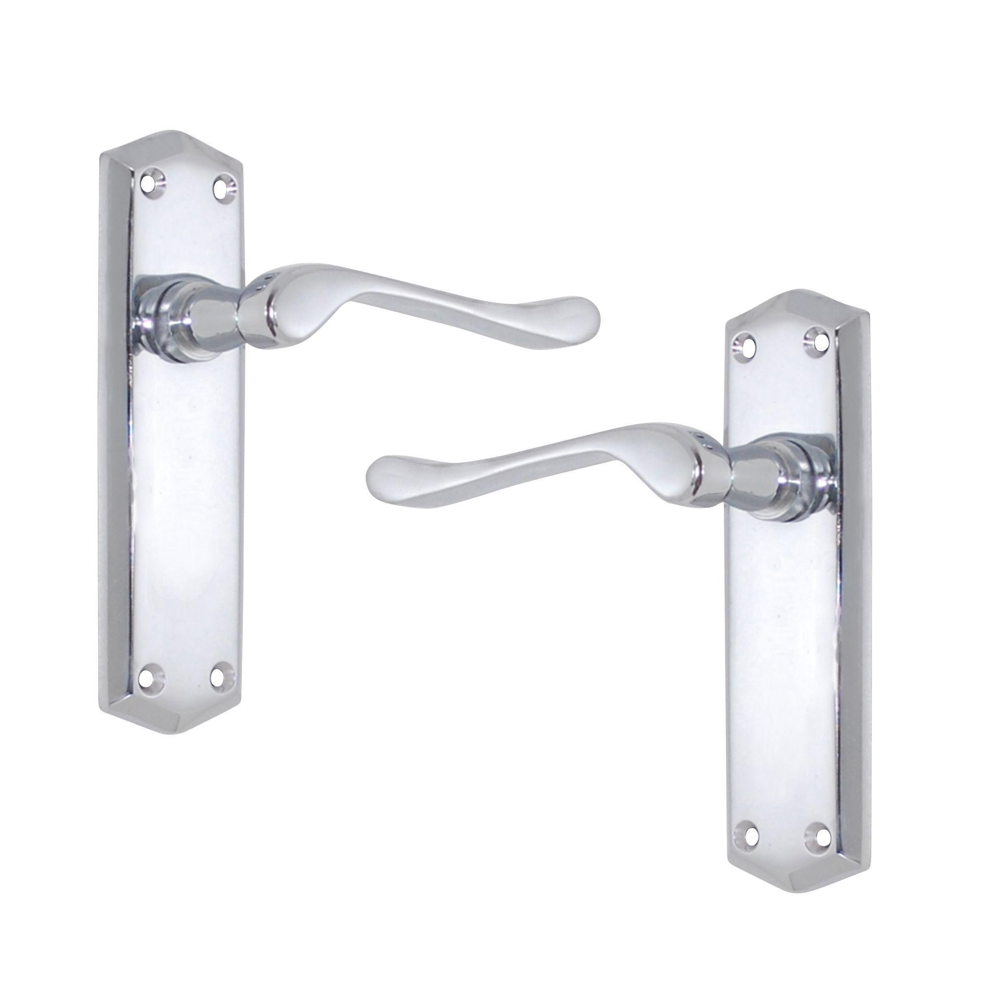 Polished Chrome Effect Internal Scroll Latch Door Handle, 1 Set
