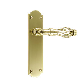 B&Q Polished Brass Effect Straight Latch Door Handle,