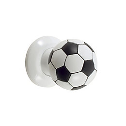 B&Q Black & White Football Round Internal Mortice