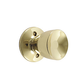 B&Q Brass Effect Round Internal Door Knob, Pack